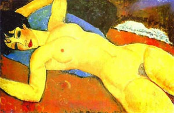 sleeping nude with arms open red nude 1917 XX gianni mattioli collection milan